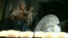 Virgin Mary in Roman church (soft focus & zoom) Stock Footage