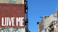 Love Me Graffiti on Building Wall in New York City's Soho Stock Video Stock Footage