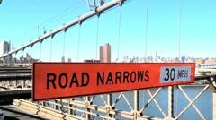 Brooklyn Bridge Road Narrows Sign Stock Video Stock Footage