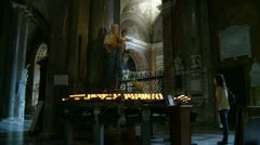 Virgin Mary in Roman church (wide shot) Stock Footage