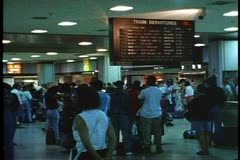 Pennsylvania Station, New York City, Interior waiting room, crowed, circa 1995 Stock Footage