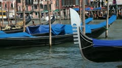 Gondolas moored on the Grand Canal, Venice, Italy Stock Footage