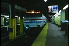 "Amtrak's ""Broadway Limited"" pulls out of Pennsylvania Station, New York City - stock footage"