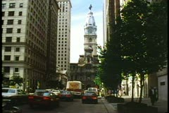 Philadelphia City Hall, 2 shots including close up of William Penn statue on top Stock Footage
