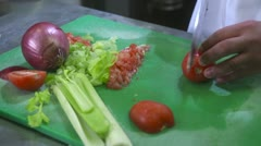 Chef Cutting Tomato - Close Up Stock Footage