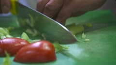 Chef Chopping Vegetables - Extreme Close Up Stock Footage