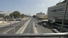 524 pan on a Main road in Tel-Aviv ending in an Israeli flag Stock Footage