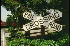 Railroad Crossing sign, near Lancaster Pennsylvania Stock Footage