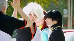 Young people attend Festival an Anime and Manga Cosplay Stock Footage