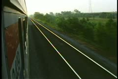 "Amtrak's ""Broadway Limited"", POV from train in early morning, scenery passes Stock Footage"