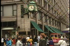 State Street corner of Randolph, Marshall Fields clock, people, Chicago, Stock Footage