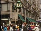 Stock Video Footage of State Street corner of Randolph, Marshall Fields clock, people, Chicago,