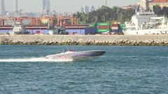 Race boat speeds up in the sea Stock Footage
