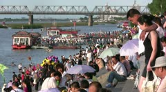 Chinese tourists gather at the Harbin promenade Stock Footage