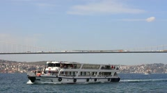 Sailing under Bosporus Bridge Stock Footage