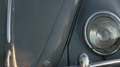 1960 VW Volkswagen Beetle - Dolly Track Headlight to Headlight - stock footage