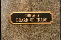 """Chicago Board of Trade"" sign, Chicago, Illinois - stock footage"