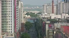 Overview of Dandong with North Korea visible in the background Stock Footage