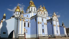 Mikhailovsky Golden-Domed Monastery on Mikhailovskaya square in Kiev, Ukraine Stock Footage