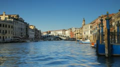 Rialto Bridge, Grand Canal, Venice, Italy Stock Footage