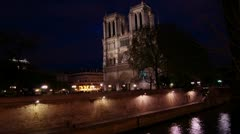 timelapse with Notre Dame in the night - stock footage