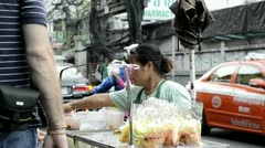 Woman Street Fruit Vendor in Thailand Stock Footage