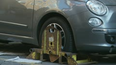 Wheel clamped - stock footage