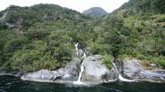 View on Milford Sound Fjord Stock Footage
