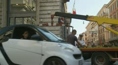 Car fined and towed in Rome (one) Stock Footage