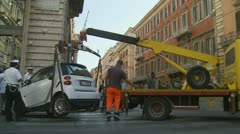 Car fined and towed in Rome (two) Stock Footage