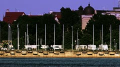Old boat on Riga City  port Stock Footage
