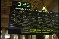 "Departure board, zoom ""Broadway Limited"" at 30th Street Station Philadelphia Stock Footage"
