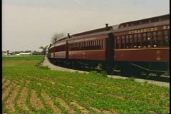 Strasbourg Steam Train retreats away, near Lancaster Pennsylvania Stock Footage