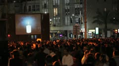 531 high angle Pan over crowd at night Stock Footage