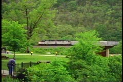 "Amtrak's ""Broadway Limited"" rounding Horseshoe Curve outside of Altoona Stock Footage"