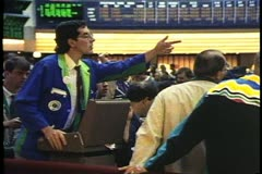 Interior Chicago Board of Trade floor, very active, wide shot, Chicago, Illinois - stock footage