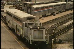 Amtrak's 14th Street yards, car assembly, switching locomotive, Chicago Stock Footage