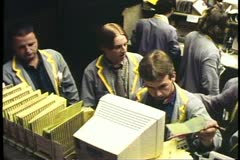 Trader on a computer keyboard, on the floor of The Chicago Board of Trade Stock Footage