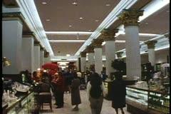 Marshall Fields interior, grand hall, Chicago, Illinois Stock Footage