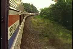 "Amtrak's ""Broadway Limited"" POV out side of train, facing forward, fast - stock footage"