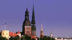 Riga City panorama Stock Footage