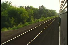 "POV out the train window with the prairies passing, Amtrak's ""California Zephyr"" - stock footage"