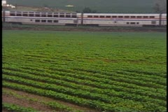 "Amtrak's ""California Zephyr"", pass by shot, silver cars, green fields of Iowa Stock Footage"