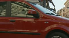 Smart car towed away in Rome Stock Footage