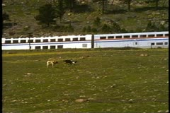 "Close up of Amtrak's ""California Zephyr"", streamliner train crawling up Stock Footage"