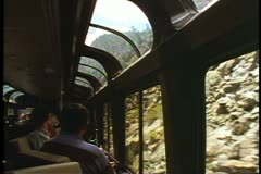 "POV out window of Amtrak's ""California Zephyr"" in the canyons, observation car - stock footage"
