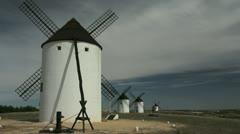 Spain Mota del Cuervo windmills in a row Stock Footage