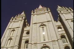 The Mormon Temple, low three spires, Temple Square, Salt Lake City, Utah Stock Footage