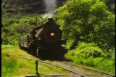 The Heber Valley Steam Train, steam locomotive pulls out, head shot Stock Footage
