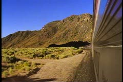 "Amtrak's ""Desert Wind"", POV, tracks, silver streamliner train rugged desert Stock Footage"